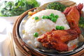 Chicken leg in lotus rice Stock Images