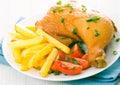 Chicken leg with potato and tomato Stock Photos