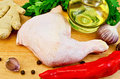 Chicken leg with vegetables and oil Royalty Free Stock Photo