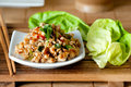 Chicken lettuce wraps with shiitake mushrooms celery and red pepper flakes Royalty Free Stock Photos