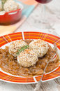 Chicken meatballs in onion sauce closeup Stock Photos
