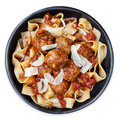Chicken Meatballs with Pappardelle Ribbon Pasta Royalty Free Stock Photo