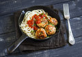 Chicken meatballs and spaghetti in a pan Royalty Free Stock Photo