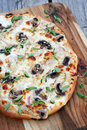 Chicken and mushroom pizza with cheese oregano Royalty Free Stock Image