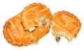 Chicken and mushroom savoury slices puff pastry isolated on a white background Stock Images