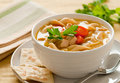Chicken noodle soup closeup of a classic with crackers Royalty Free Stock Photography