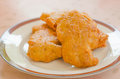 Chicken nuggets close up fried on dish Royalty Free Stock Image