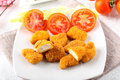 Chicken nuggets on dish Royalty Free Stock Photography