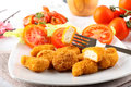 Chicken nuggets on dish Stock Photography