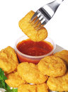 Chicken nuggets with ketchup fast food Stock Images