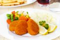 Chicken nuggets with mashed potatoes and vegetables Royalty Free Stock Photography