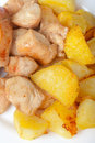 Chicken nuggets with potatoes Stock Image