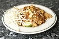 Chicken Pad Thai noodles Stock Image