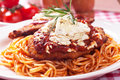 Chicken parmesan with spaghetti pasta breaded steak tomato sauce and Stock Photography