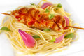 Chicken on pasta meal Royalty Free Stock Image