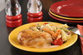 Chicken with pasta salad roasted organic mediterranean Royalty Free Stock Photography