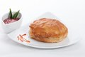 Chicken pastry srilankan on white dish Royalty Free Stock Photography