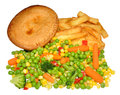 Chicken Pie And Chips Meal Royalty Free Stock Photo