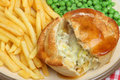 Chicken pie with chips and peas vegetable fries gravy Royalty Free Stock Image