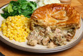 Chicken pie with vegetables sweetcorn cabbage and mashed potato Stock Photography