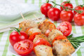 Chicken pieces grilled on skewers Stock Photography