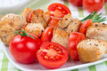 Chicken pieces grilled on skewers Stock Images