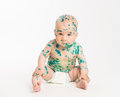 Chicken pox ailing baby on white background sitting Royalty Free Stock Photo