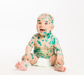 Chicken pox ailing baby on white background Royalty Free Stock Photo