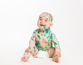 Chicken pox ailing fun infant on white background sitting Stock Photo