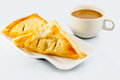 Chicken puff and coffee on white Stock Image