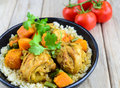 Chicken and pumpkin curry with couscous Royalty Free Stock Photo