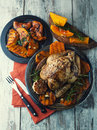 Chicken with pumpkin and rosemary Royalty Free Stock Photo