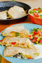Chicken Quesadillas with  Cheese Stock Photo