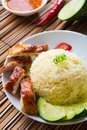 Chicken rice asian style hainan chicken rice closeup Royalty Free Stock Images