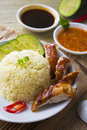 Chicken rice asian style hainan chicken rice closeup photo Royalty Free Stock Photo
