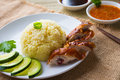 Chicken rice asian style hainan closeup Royalty Free Stock Photography