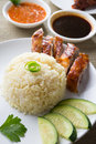 Chicken rice asian style hainan closeup Stock Photo