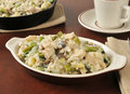 Chicken rice casserole risotto with asparagus and mushrooms in a mini dish Stock Photos