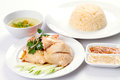 Chicken rice set a complete meal of the traditional hainanese dish popular in malaysia and singapore Stock Photography