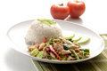 Chicken with rice and vegetables food asia Royalty Free Stock Photo