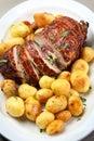 Chicken roll bake potato menu Stock Photo