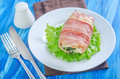 Chicken roll with smoked bacon Stock Photography