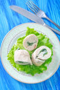 Chicken roll with spinach on plate Royalty Free Stock Image
