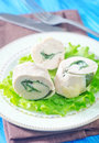 Chicken roll with spinach on plate Royalty Free Stock Photography