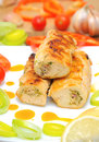Chicken rolls with vegetables closeup Stock Photos