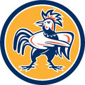 Chicken Rooster Angry Pointing Circle Retro