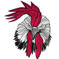 Chicken rooster head design for t-shirts isolated on white background. Vector illustration tattoo of a cock. Royalty Free Stock Photo