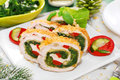 Chicken roulade with spinach for christmas cheese and red pepper dinner Stock Photography