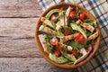 Chicken salad with avocado, arugula and tomatoes. horizontal top Royalty Free Stock Photo