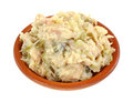Chicken Salad Clay Dish Angle Royalty Free Stock Image
